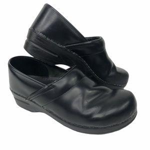 Black Leather Slip In Dansko Mule Shoes